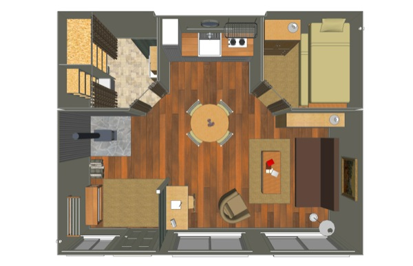 Here is the floor plan for this three 20' container cabin.  Check out the blog for a ton more pictures at  www.tincancabin.com