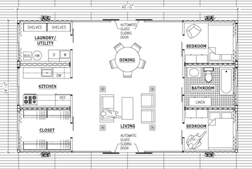 Here is a floor plan from the  linked article above .  This house is designed by Adam Kalkin, an architect that uses containers in many of his projects.