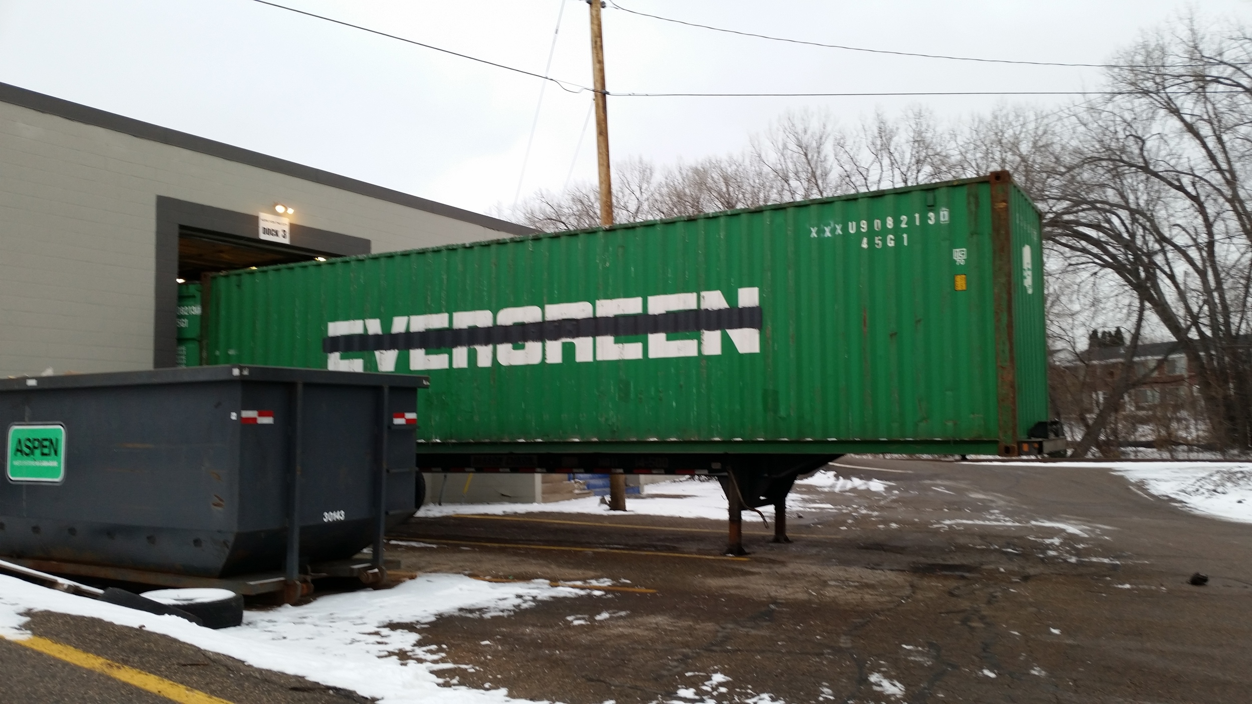 Shipper-owned container at a dock to be loaded
