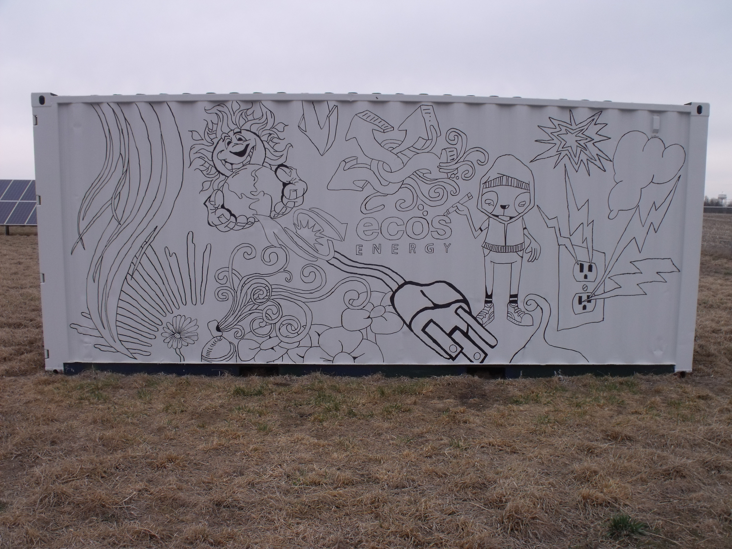 The design was first projected onto the container