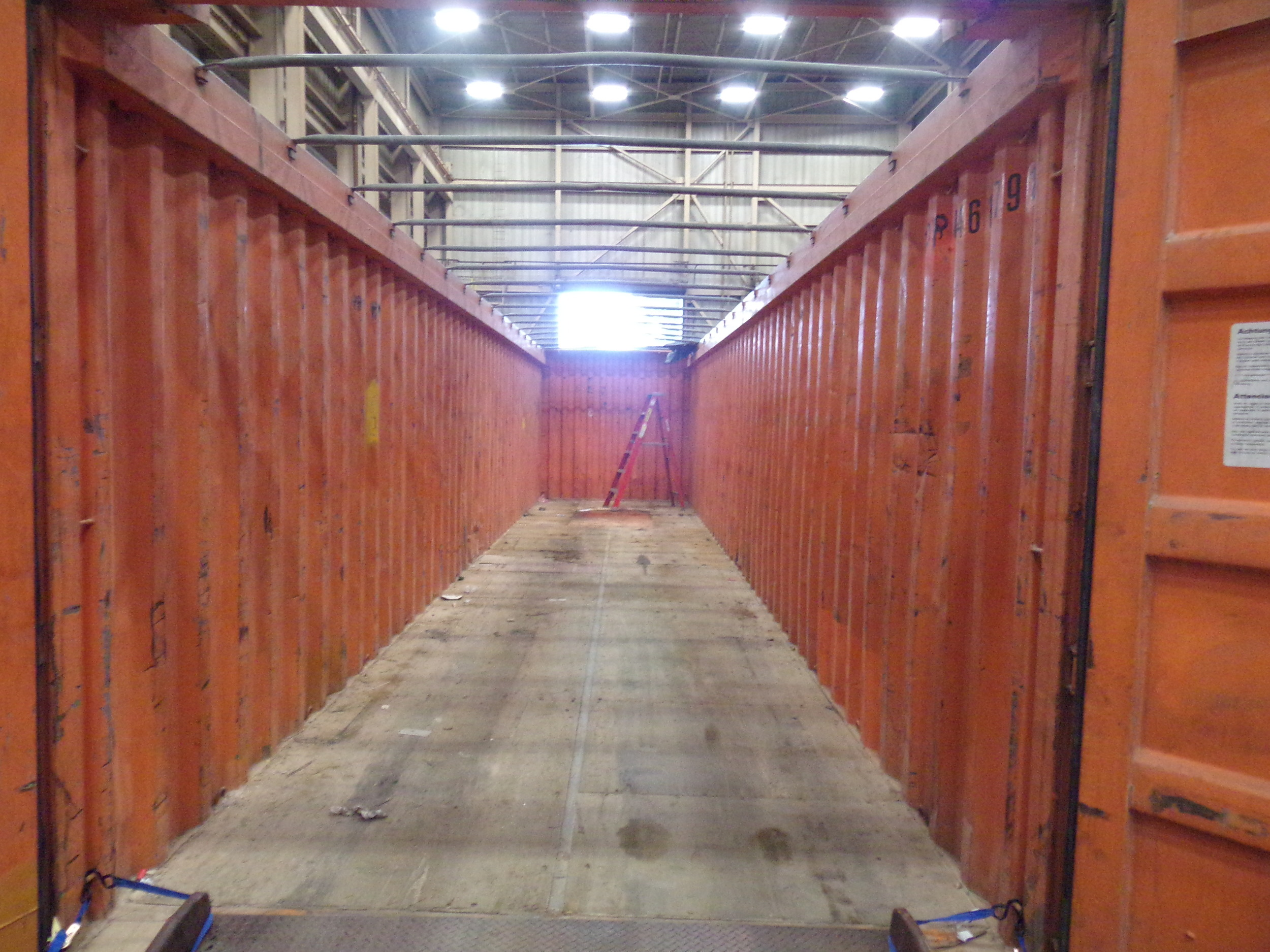 """""""Inside"""" a 40' open-top container available in Minneapolis"""