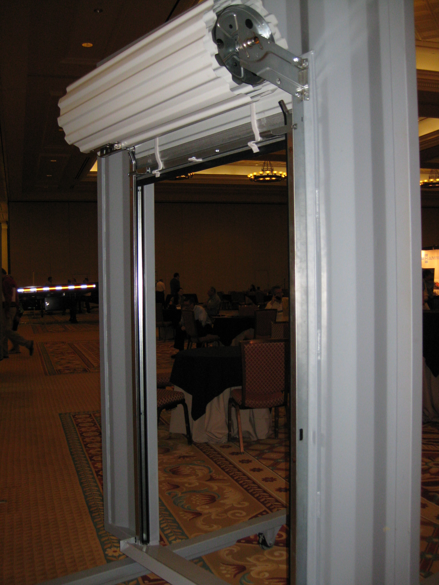 Roll-up door kit on display at a trade show