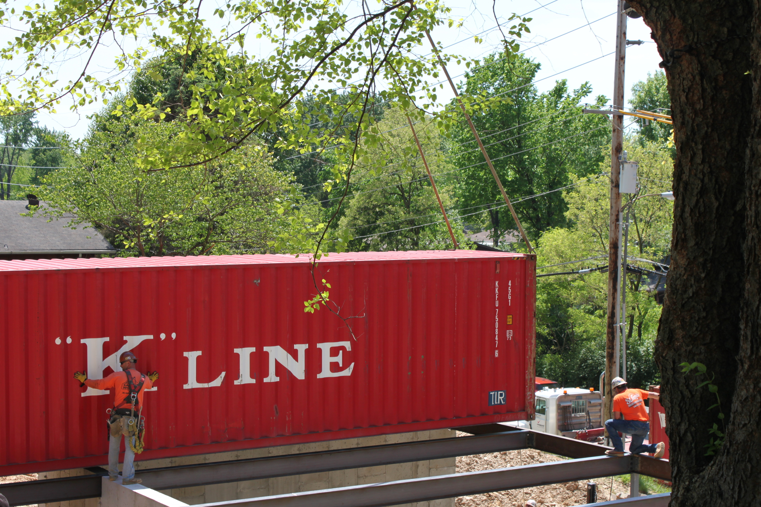 Getting the container into place