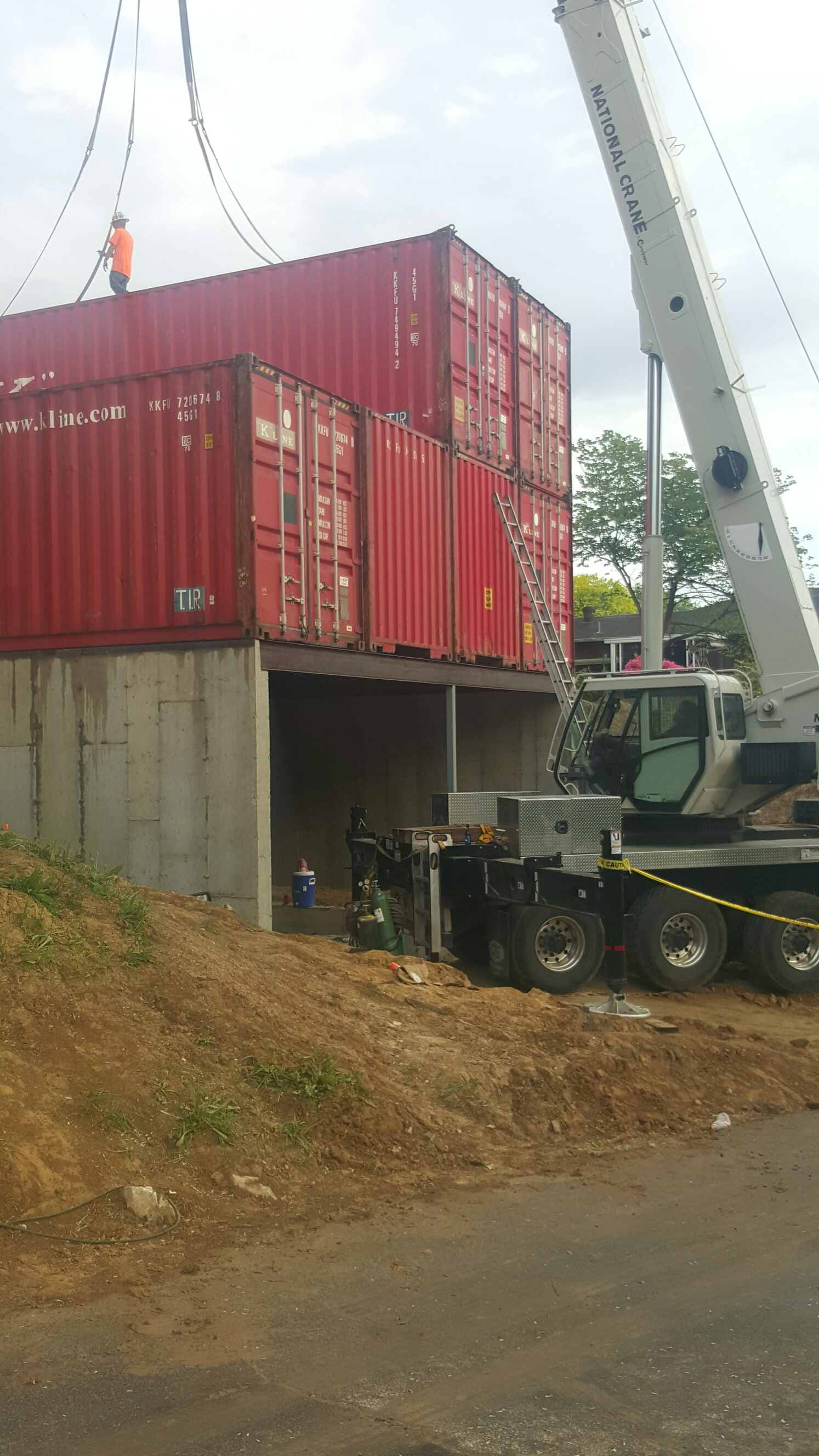 5 containers in place