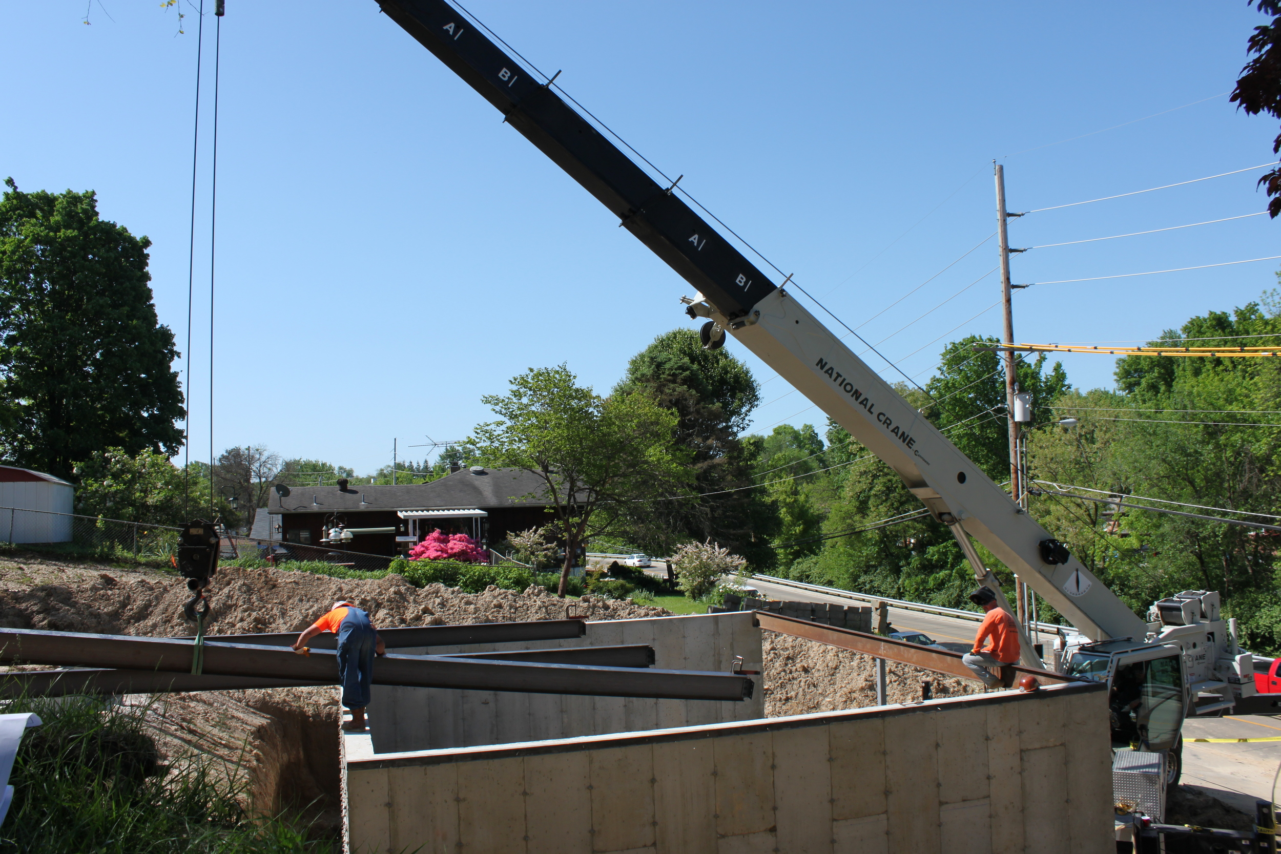 Steel beams going into place