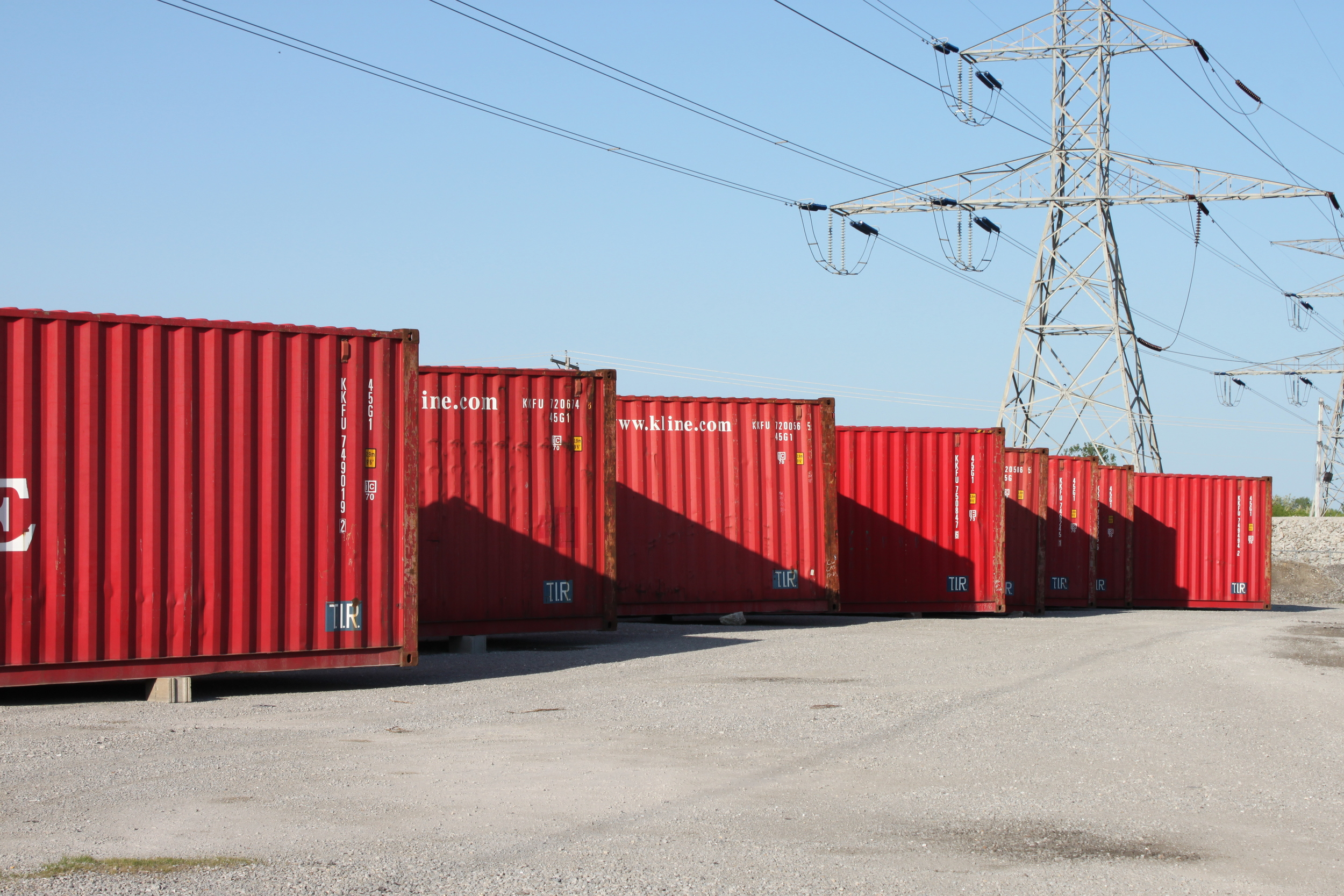 Containers staged near the new home