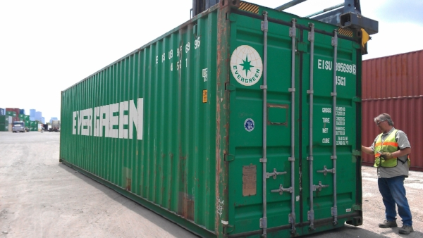 Used green 40' high cube container