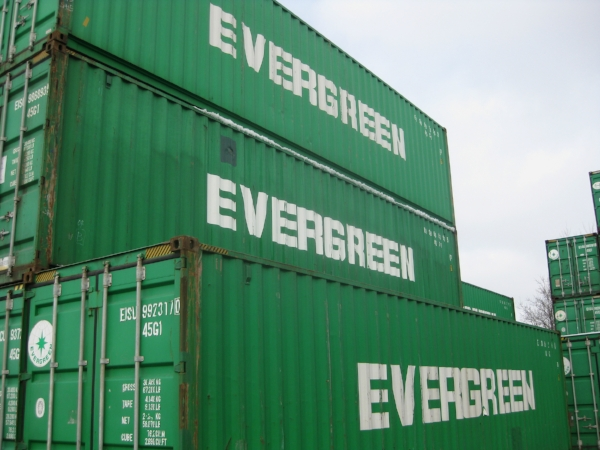 Used green 40' containers