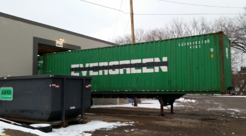 Container at customer's location for loading