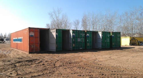 Containers lined up for loading
