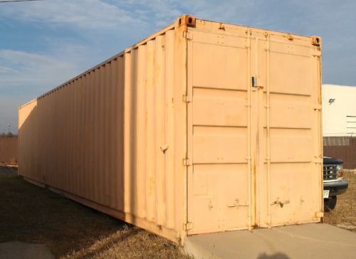 Painted used container with perm ramp with divets for lockrods