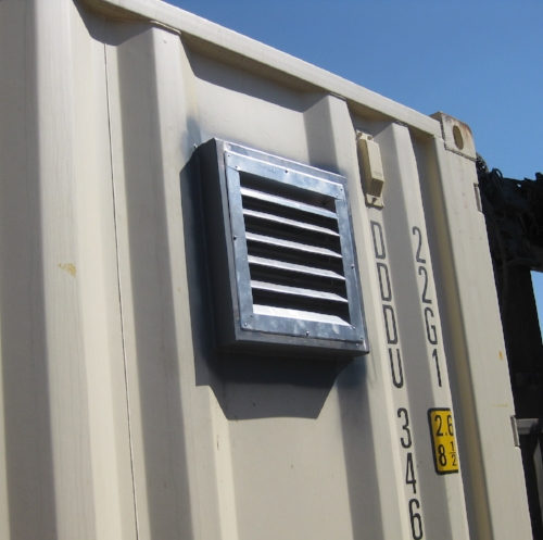 Louvered vent from the outside of a one-trip container