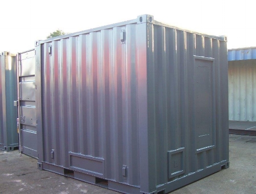 10' container with cut-outs and painted