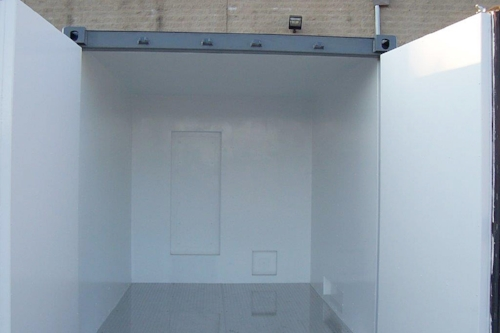 Inside of 10' container with HVAC cut-out, insulation and diamond-plate flooring