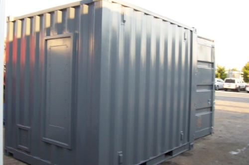 10' container with HVAC cut-out fitted with steel plate for easy installation of HVAC unit