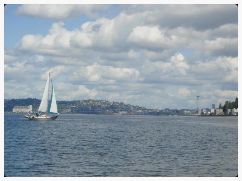 The view from Alki Beach in West Seattle [not my sailboat—wish it was!]