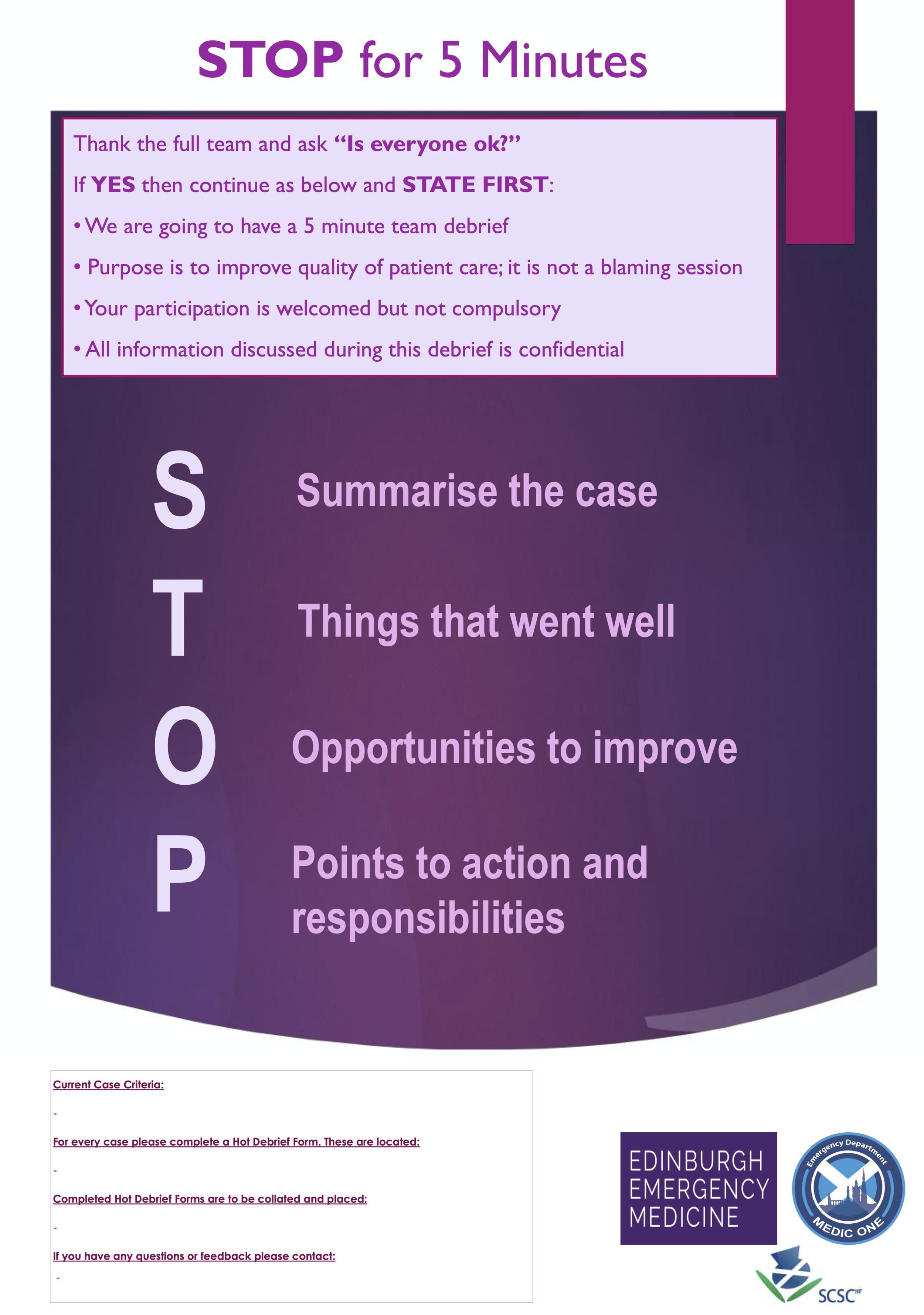 "Edinburgh Emergency Medicine - ""STOP 5: STOP for 5 Minutes"
