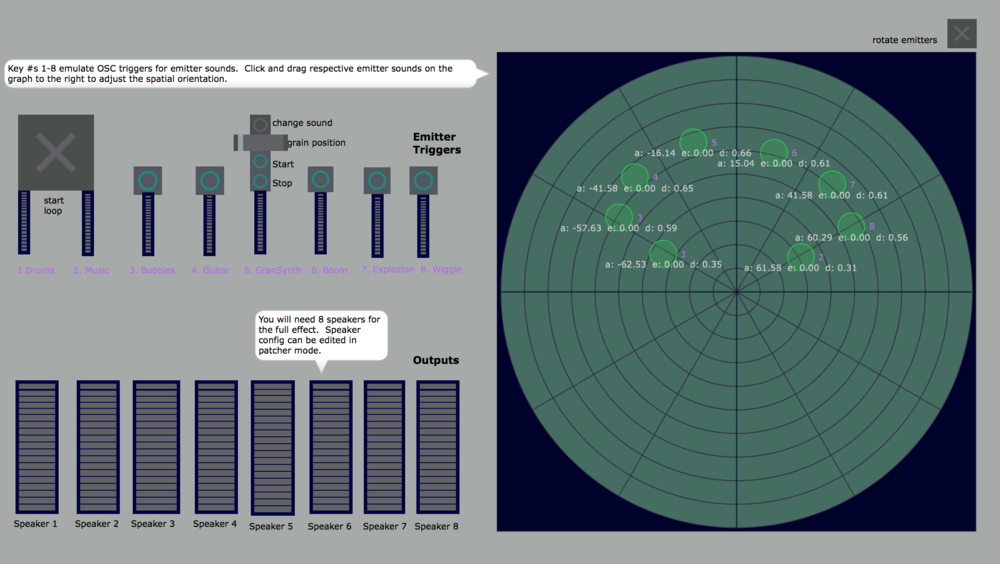Monitor screen for Max audio environment of spacial encoding/decoding and OSC triggers from Unity * Made by Andrew Luck*