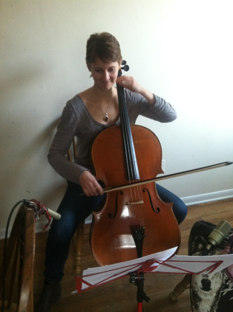 Recording cello for Episode #12: %22Veronica at the Altar%22.jpg