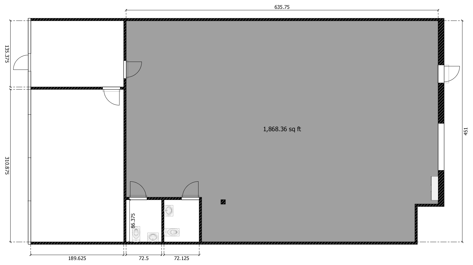 1868 square foot climate controlled warehouse space
