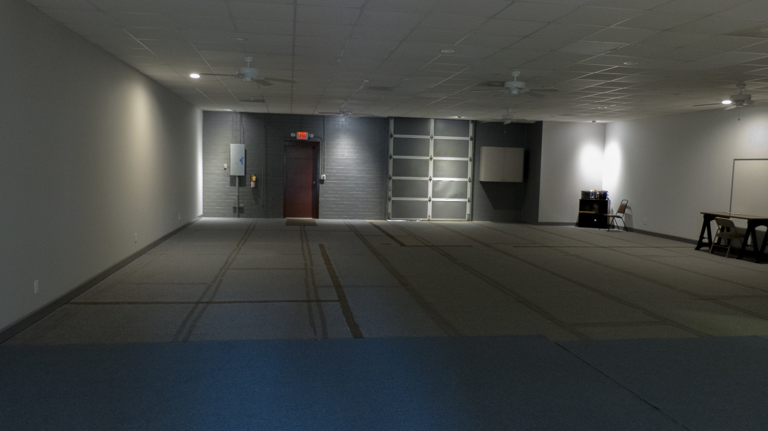 Warehouse space has low level lighting option