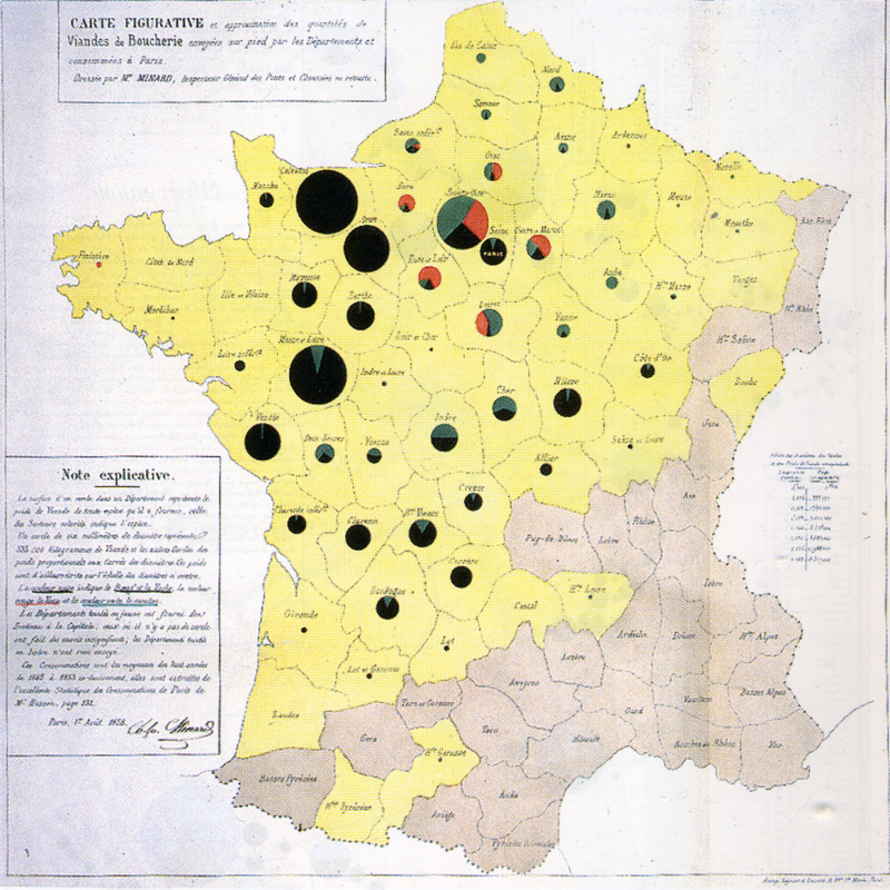 Cattle map, by Minard. Source:  Wikipedia .