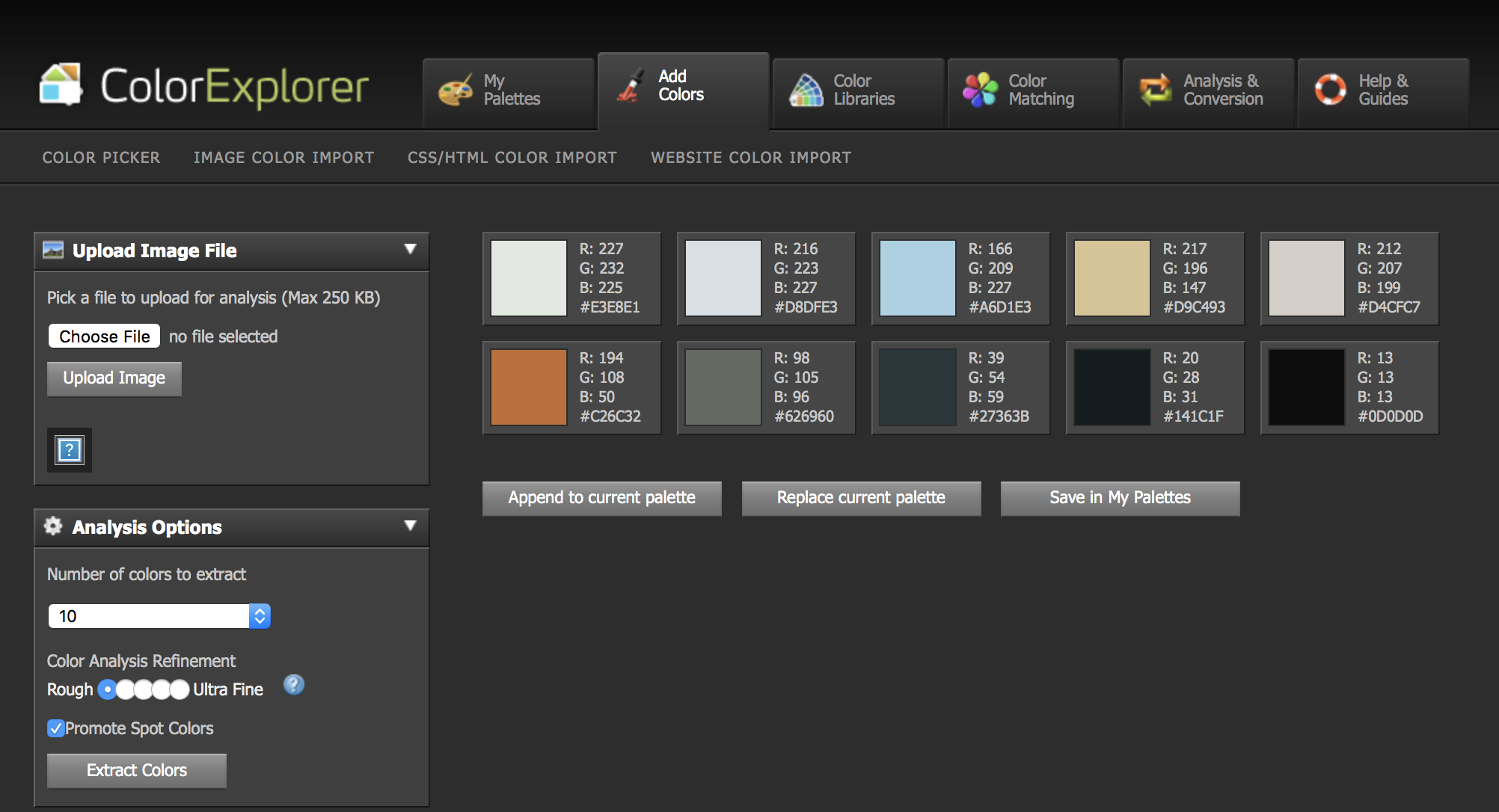 ColorExplorer interface