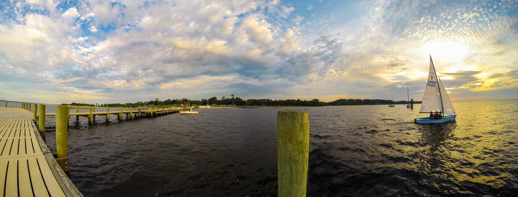 Sunrise sailing at Camp Sea Gull on the Neuse River