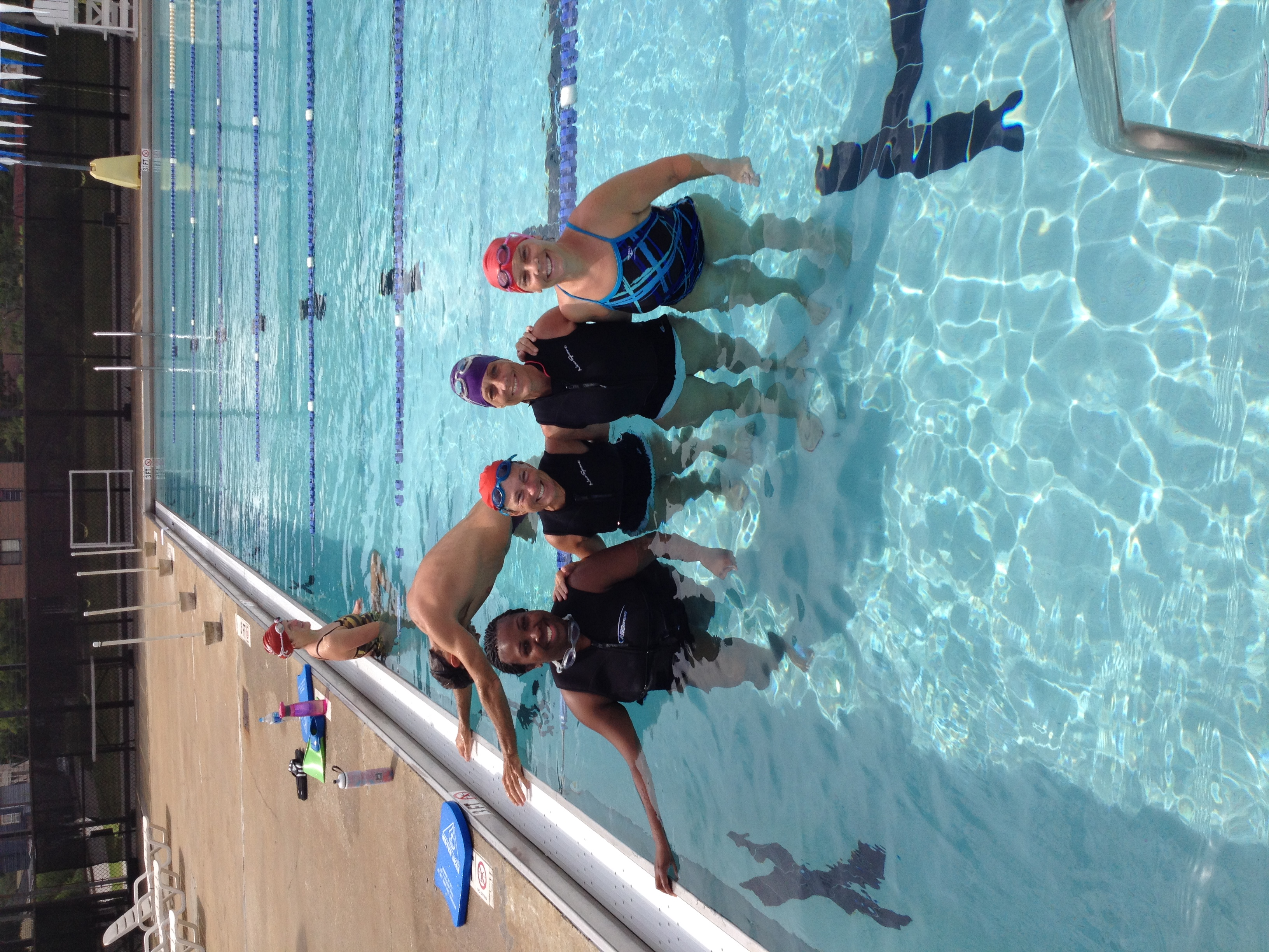 Kathleen with more new swimmers at conclusion of a Beginner class held July, 2014
