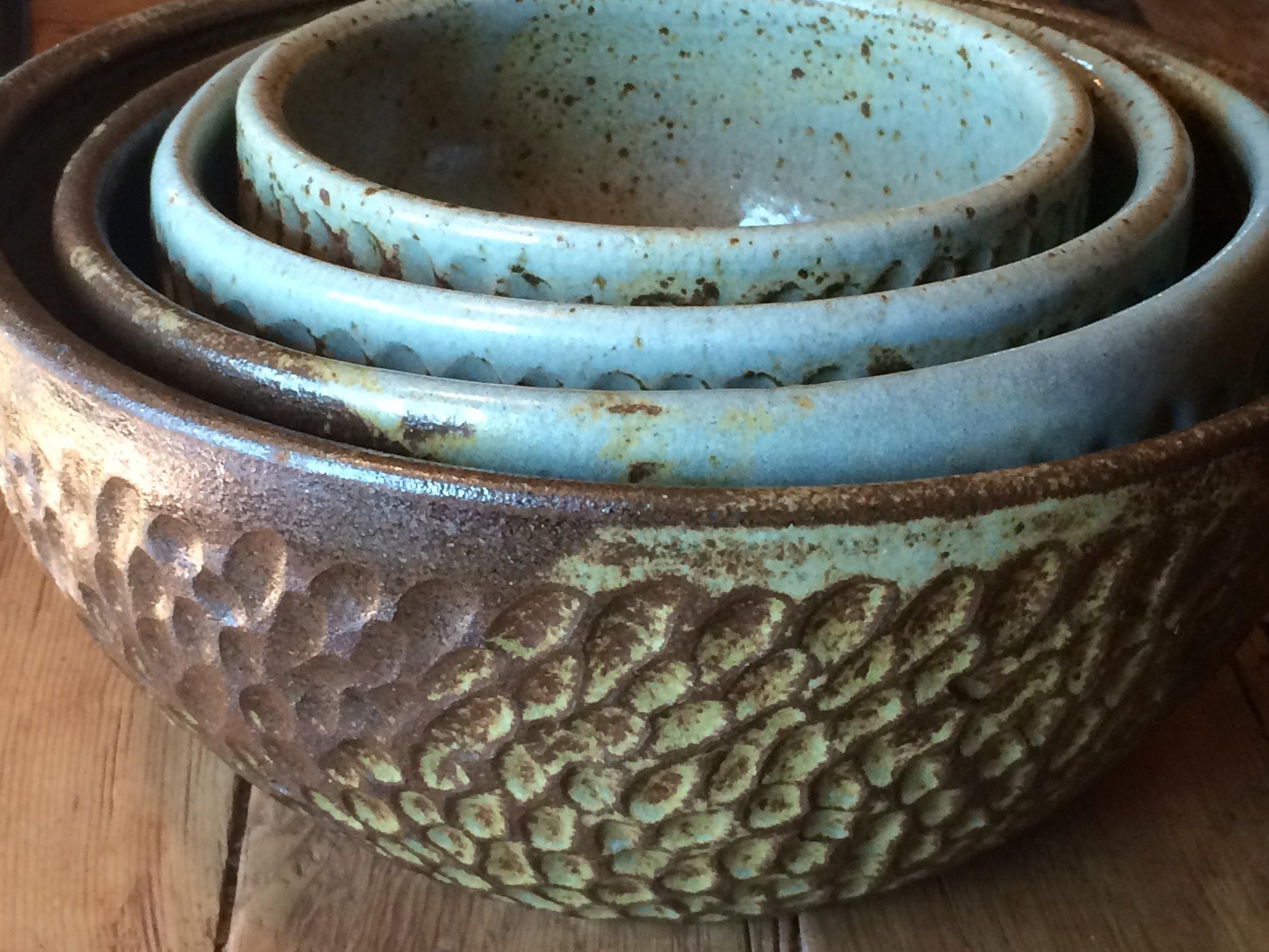 Angela Smith Kirkman Pottery_chiseled nesting bowls (4).JPG