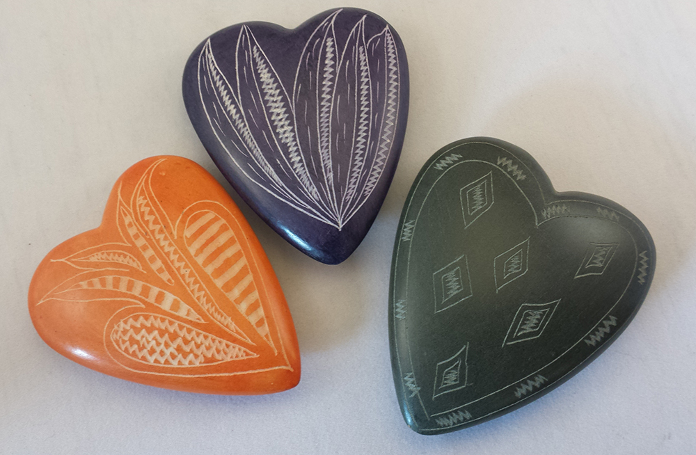 Engraved Stone Hearts