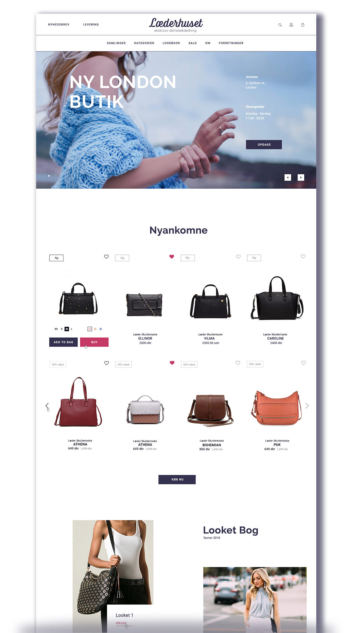Læderhuset - Web Design Home page (Upper half) by THAT Branding Company - Creative Design and Branding Agency in Newcastle