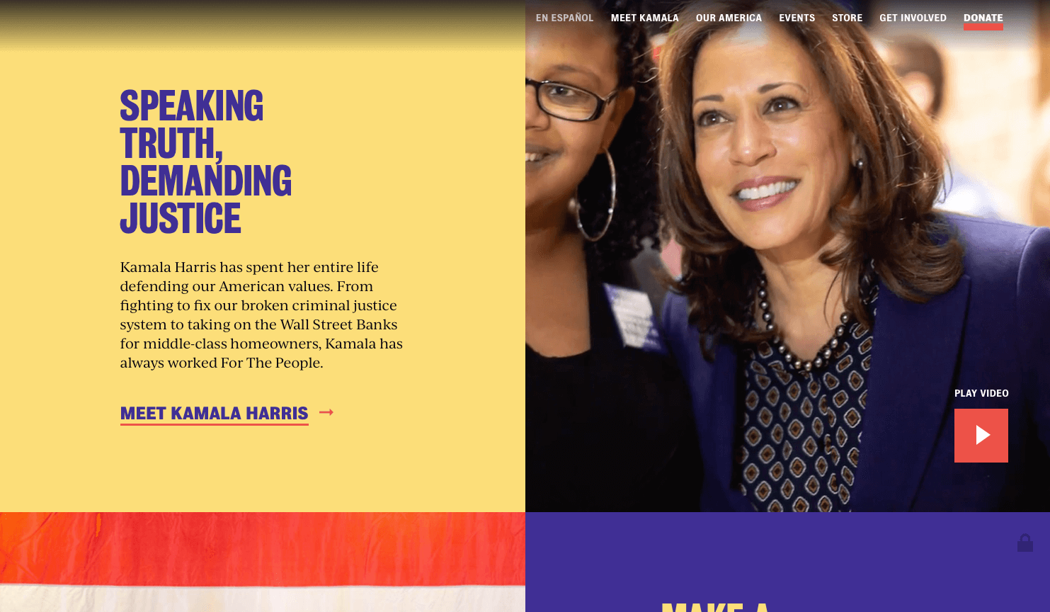 Kamala Harris presidential candidate home page - Screen shot from THAT Branding Company Newcastle Upon Tyne.png