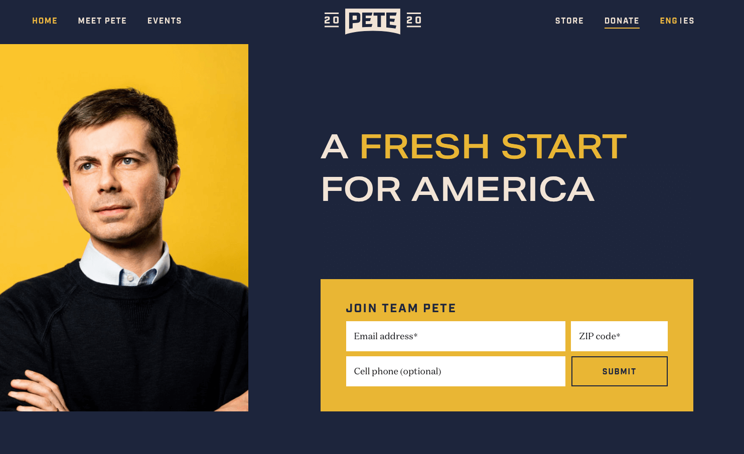 Pete Buttigieg presidential candidate home page - Screen shot from THAT Branding Company Newcastle Upon Tyne.png