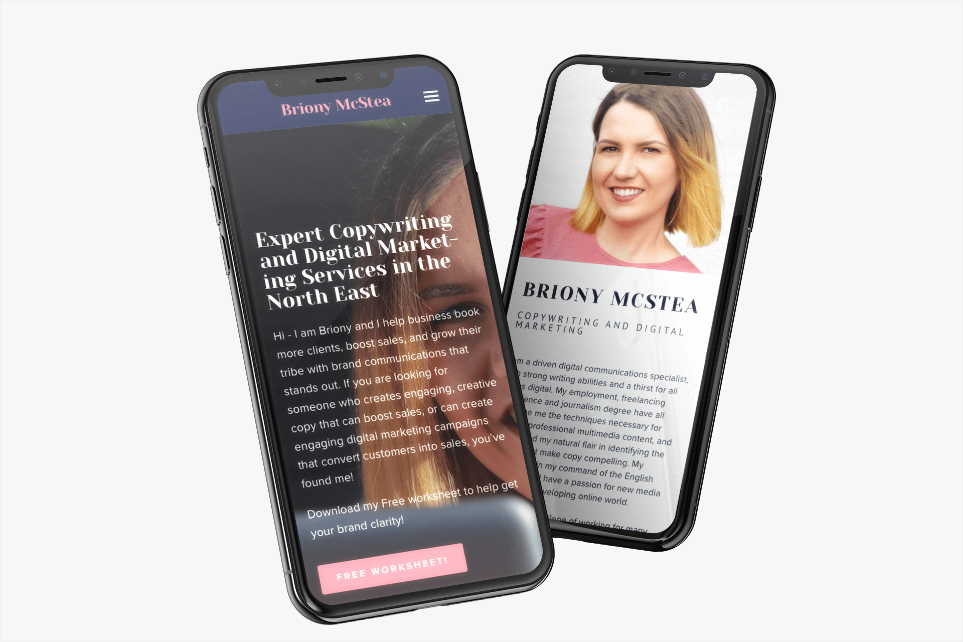 Briony McStea iPhone X Mockup - THAT Branding Company - Ethical Creative Design and Branding Agency in Newcastle Gateshead and Durham - UK.png