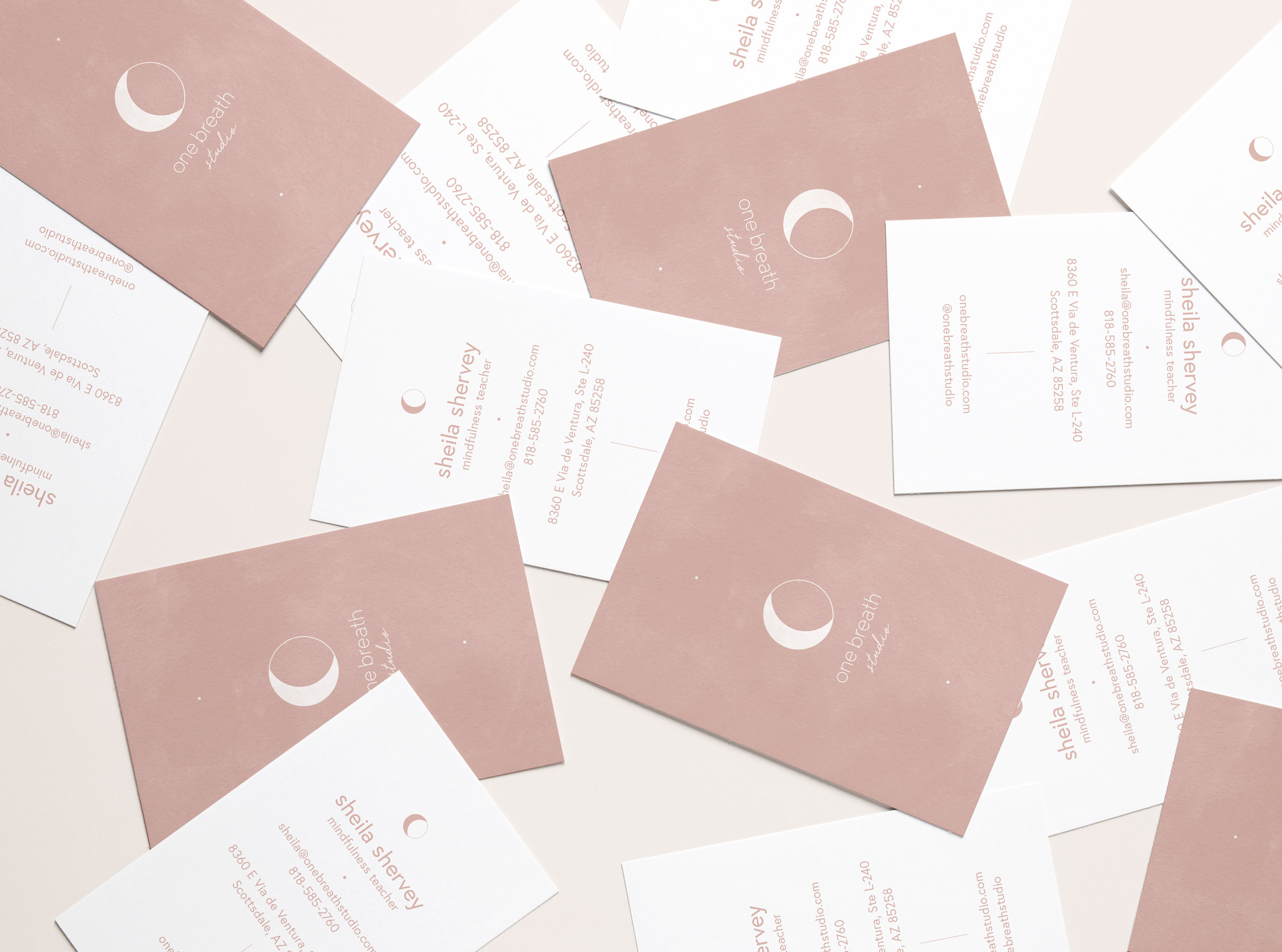 One Breath Studio - Branding + Website DesignCreative Riot branded One Breath Studio, a Scottsdale based meditation studio. The branding was inspired by women, repetition, cycles of the moon and the ocean. Creative Riot executed the brand strategy, logo design, business cards and stationary,art direction for photography,website design, e-mail Mailchimp designs,social media graphics and Instagram strategy.