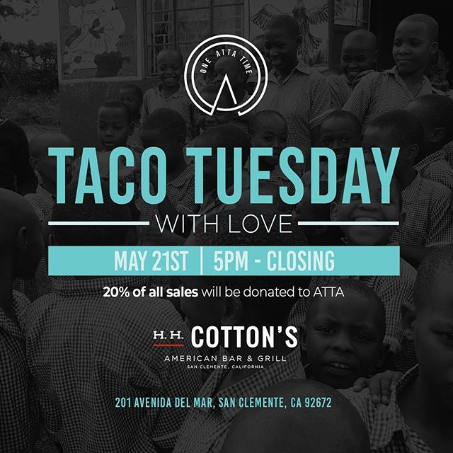 Mark your calendars! We have partnered with @hhcottons — On May 21st at 5pm to closing at H.H. Cottons 20% of sales will be donated to ATTA! Some come on down and enjoy good food, drinks, and help provide families access to clean drinking water!!! #oneattatime