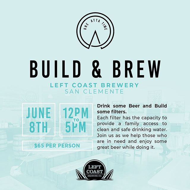 Join us on June 8th at Left Coast Brewing Company from 12pm to 5pm (or anytime in between) to build some filters for those in need and drink some quality beer. Tickets are required for this event. Each ticket costs $65 which will include a drink card for beer and one filter for a family in need of clean drinking water. Join us as we help those who are in need and enjoy some great beer while doing it! — purchase tickets with link in bio —
