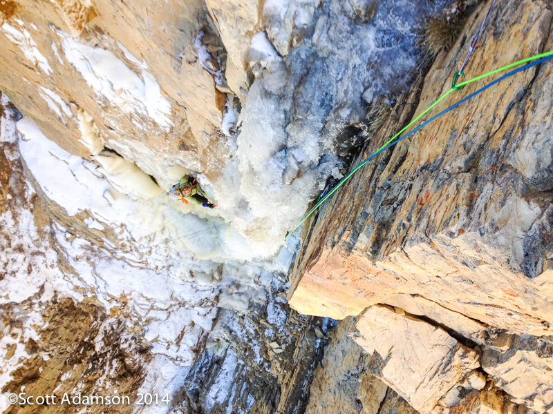 Angela VanWiemeersch following the second pitch on the first ascent of The One Who Knocks.