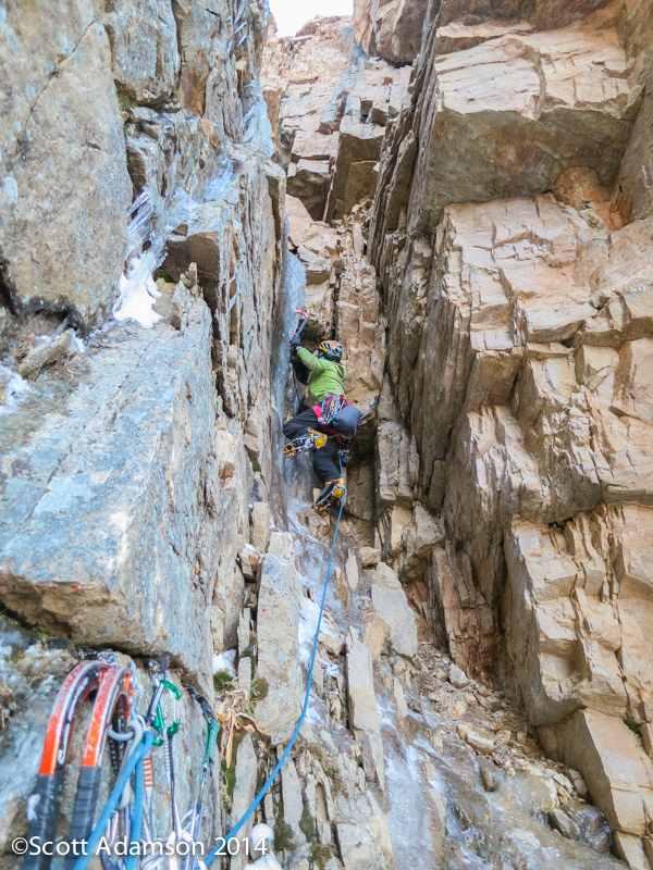 Angela Van Wiemeersch on the second pitch of Golden Spike (345', WI4 M5 R) on Reids Peak in the Uinta Mountains.