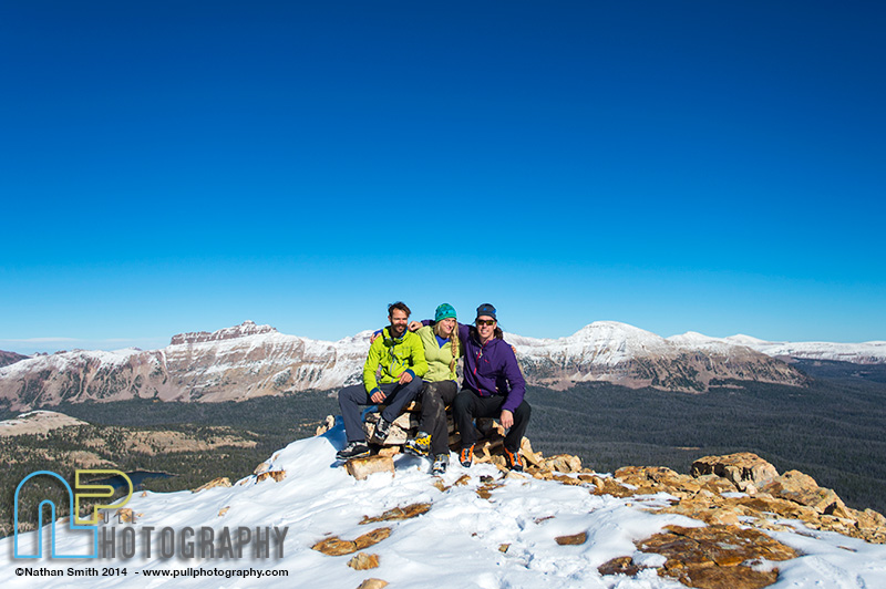 Scott Adamson, Angela VanWiemeersch and Nikki Smith on the Summit of Reids Peak, Uintas, Utah.