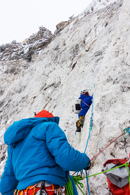 Nikki Smith on pitch 3 on the first ascent of Ice Giants.