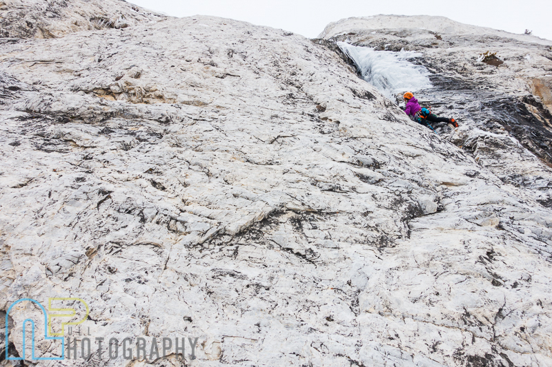 Jewell Lund nearing the ice on pitch 2 of Ice Giants.