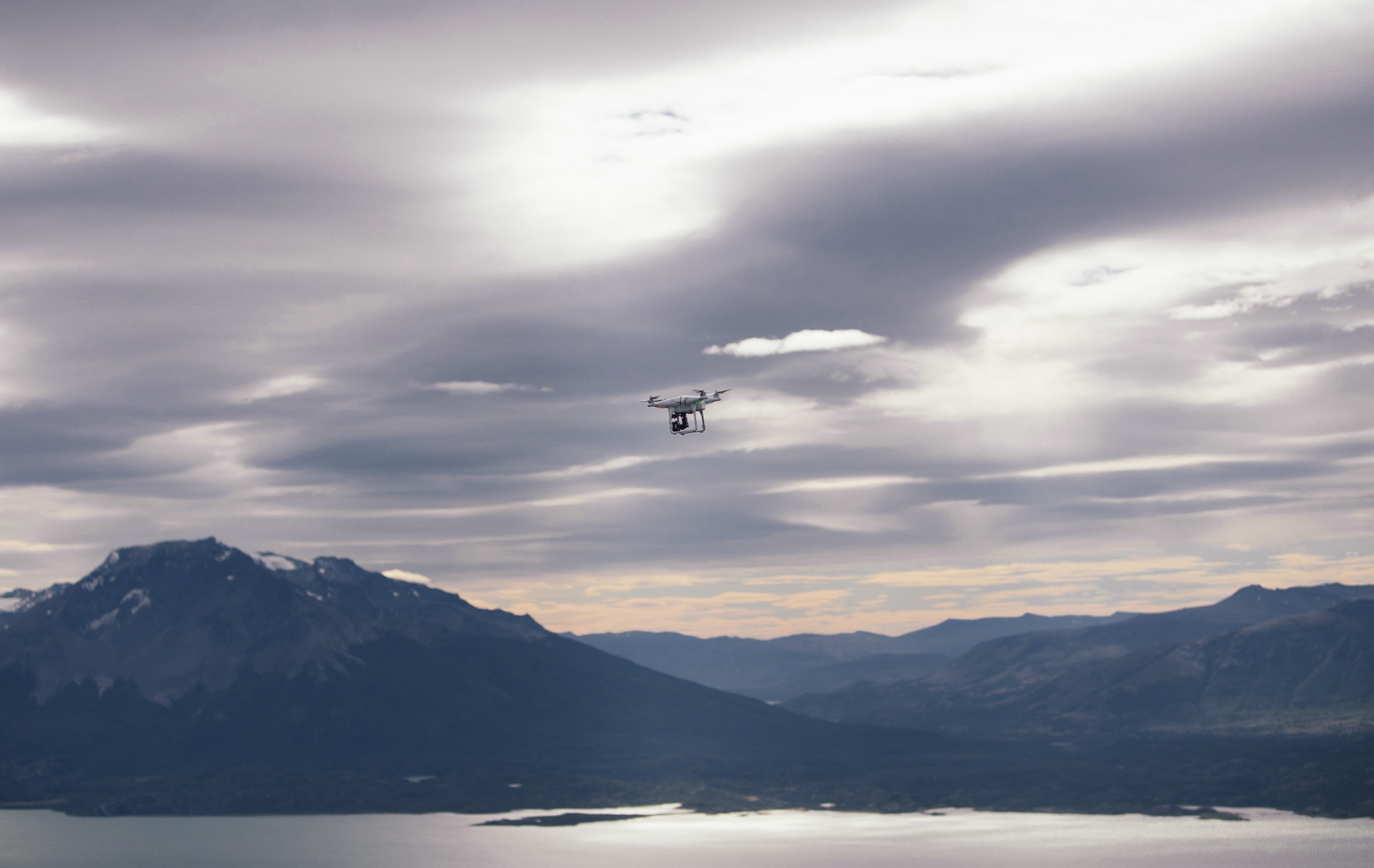 The drone goes out to capture views of a scale that a traditional view simply could not.