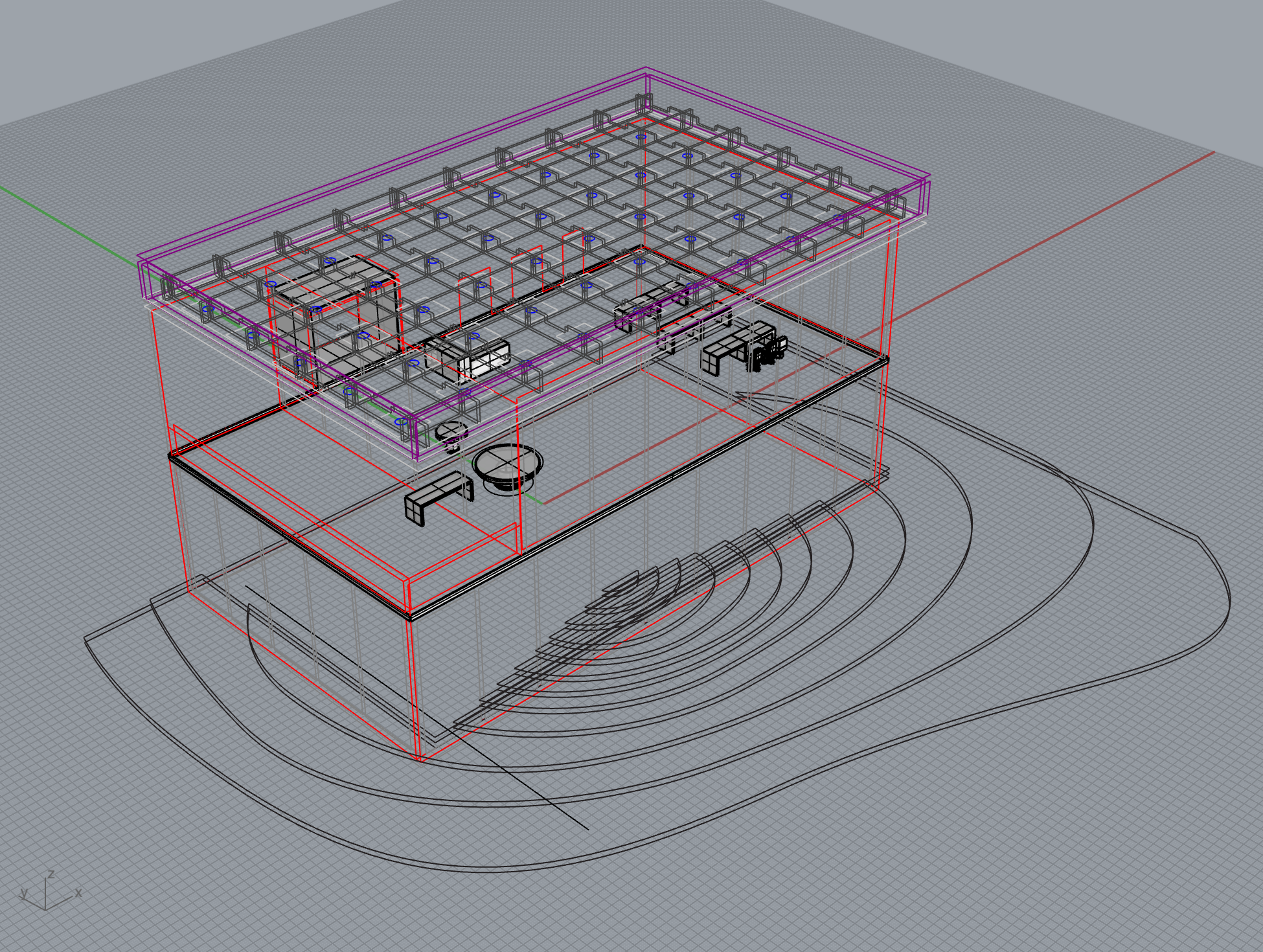 The first step was to build a model in Rhino, this model was then used for part­ planning.