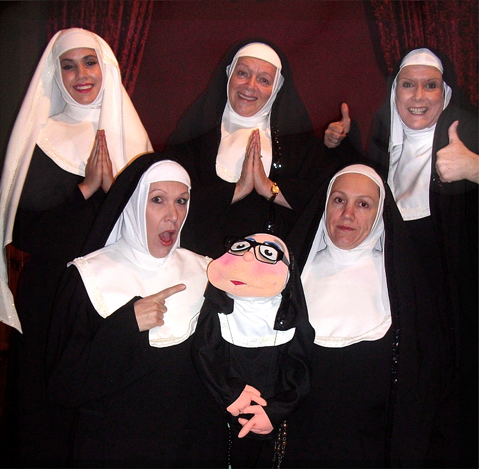 Mahalia Bowles, left, Jen Edwards, Shelley McGinn, Jane Anderson and Alida Chaney – and puppet Sister Marion-ette – are appearing in Nunsense II: The Second Coming this June.
