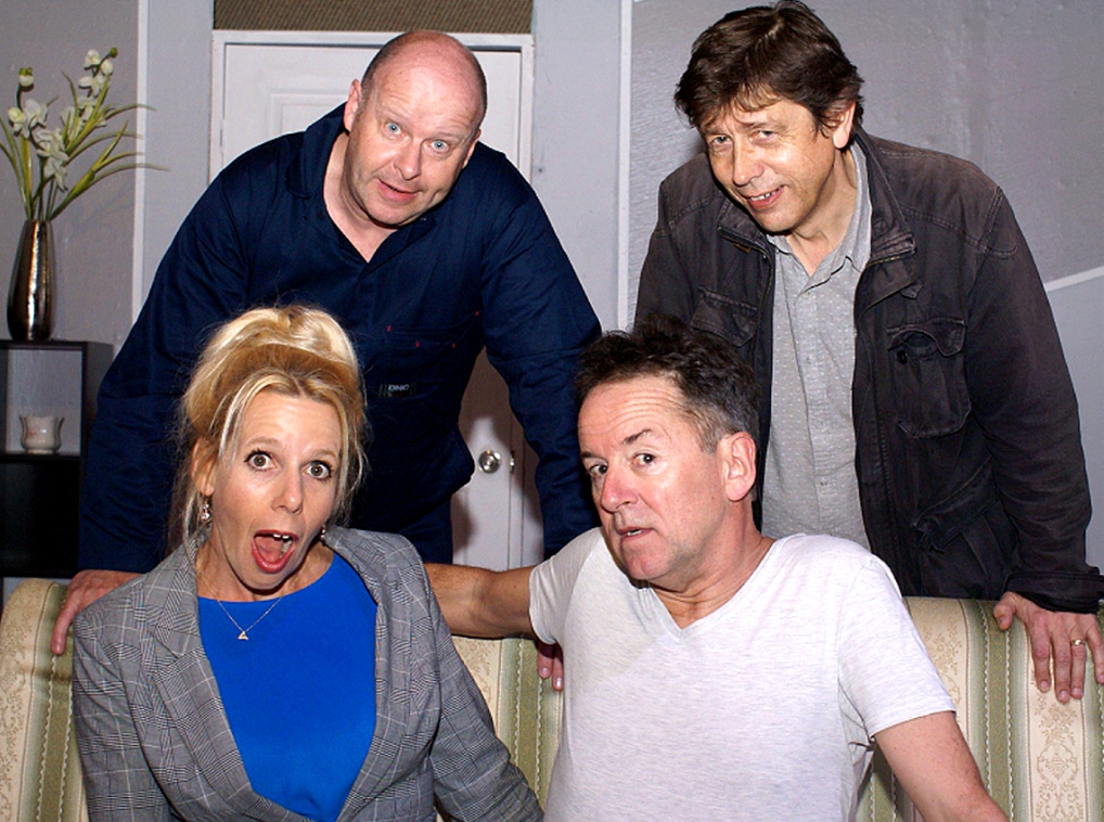 "Linda (Susannah Bell) and Tom (Gordon Park), seated, aren't impressed by the ""helpful"" antics of Harry (Andrew Govey) and Dick (Chris Juckes)."