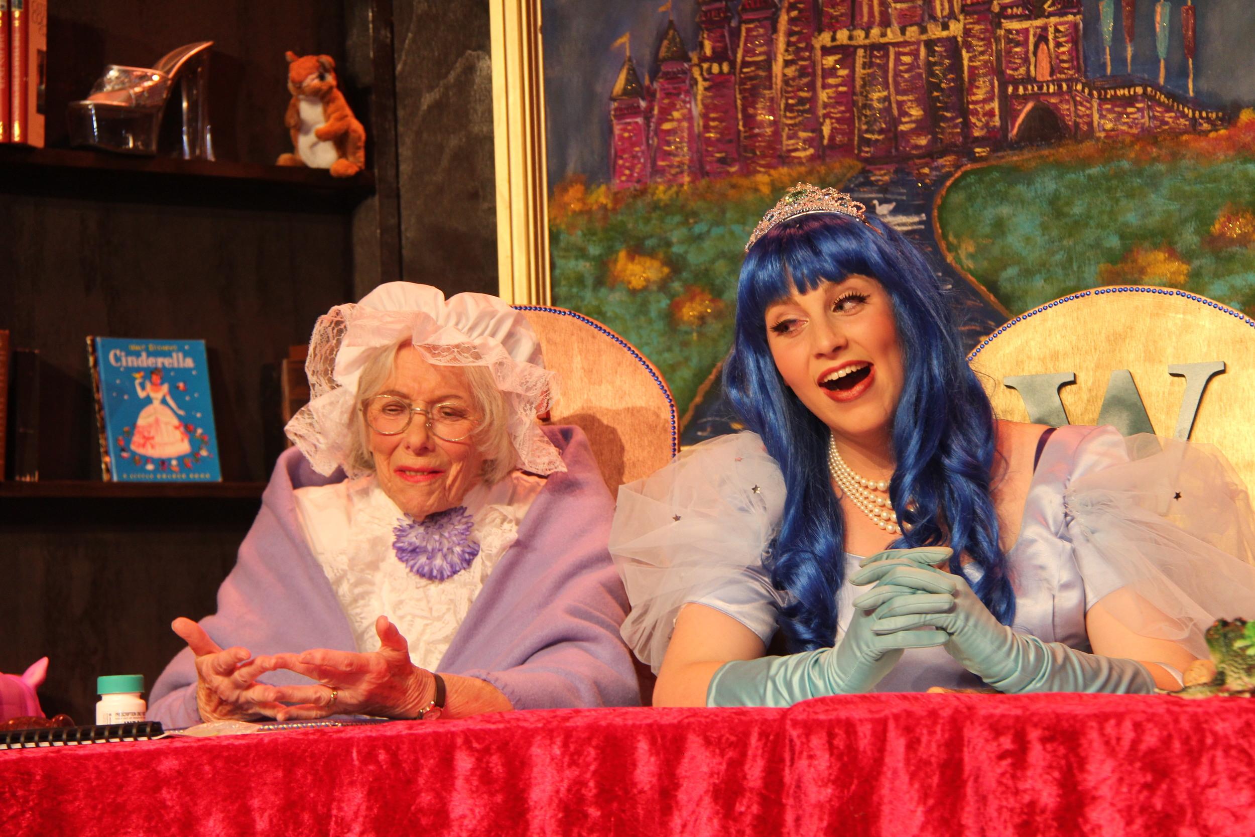 Ursula Johnson as grandma and Sophie Prober as Cinderella in  The Broken Slipper .
