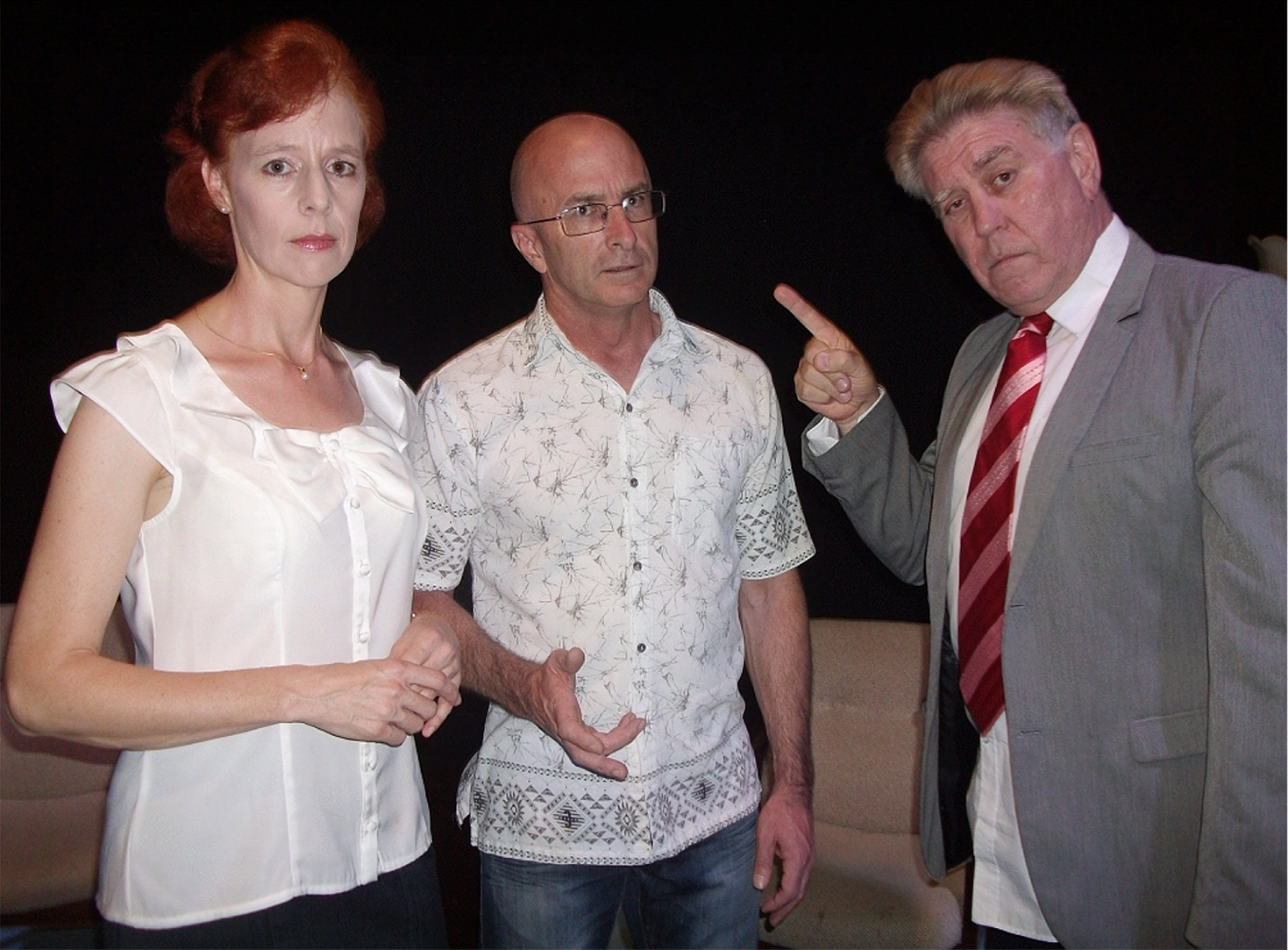 Gael Campbell-Young, left, Alan Bascombe and Ron Arthurs are appearing in the thriller  Deadly Relations  this February