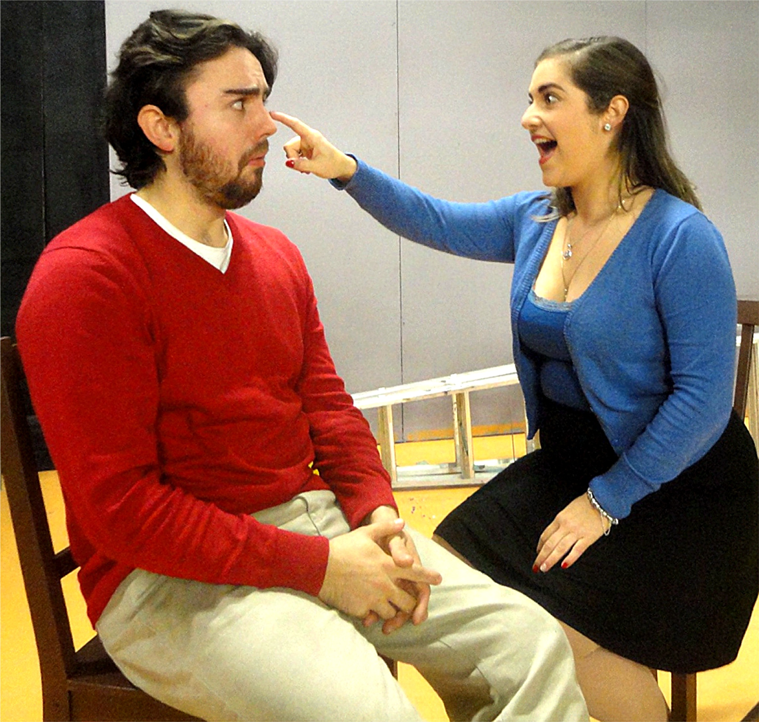 Sam Barnett, left, and Kimberley Harris play Doug and Kayleen from the ages of eight through to 38 in the darkly humorous  Gruesome Playground Injuries .